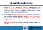 specificity selectivity