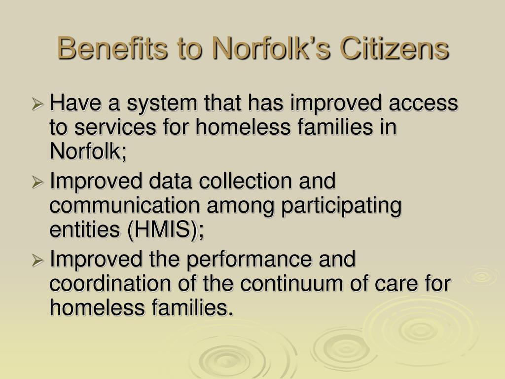 Benefits to Norfolk's Citizens