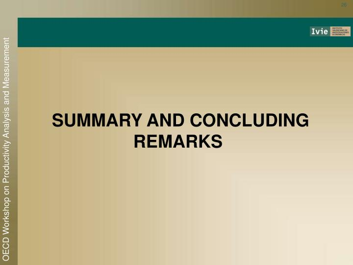 SUMMARY AND CONCLUDING REMARKS