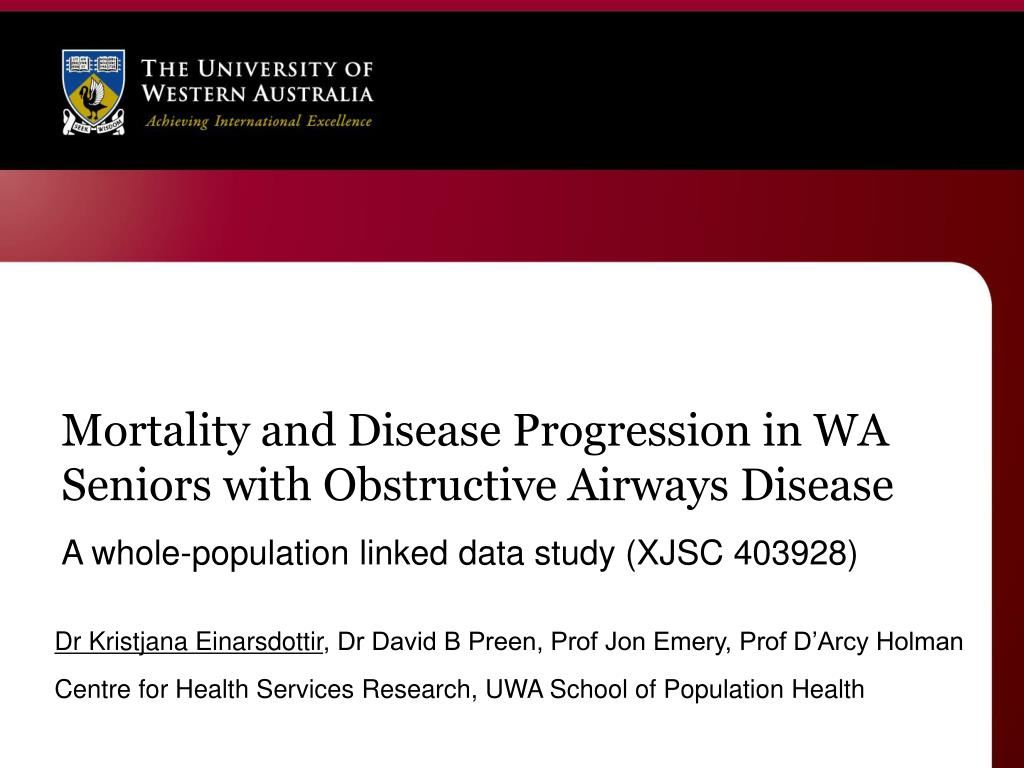 mortality and disease progression in wa seniors with obstructive airways disease l.
