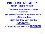 pre contemplation never thought about it