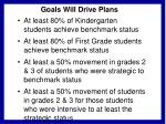 goals will drive plans