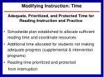 modifying instruction time