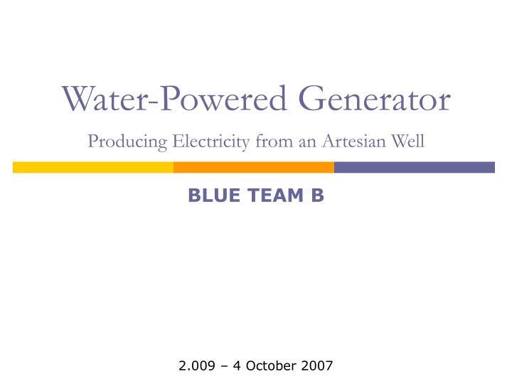 water powered generator producing electricity from an artesian well n.