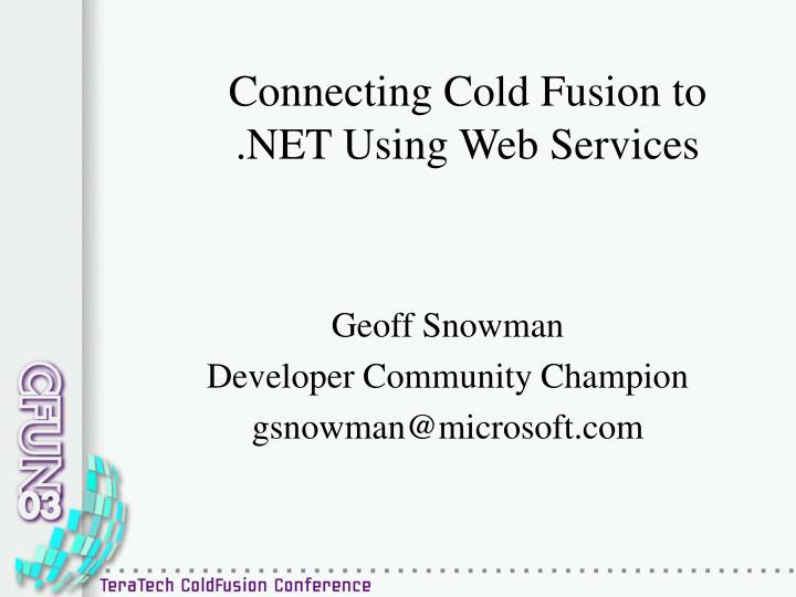 connecting cold fusion to net using web services n.