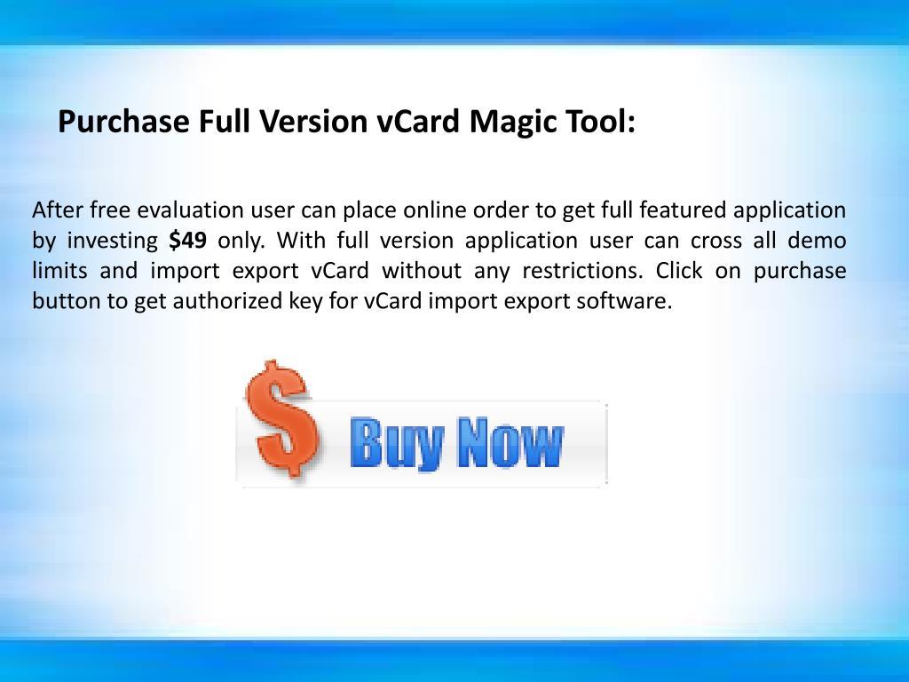 Purchase Full Version vCard Magic Tool: