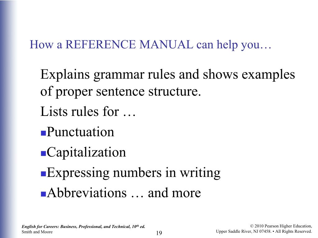 How a REFERENCE MANUAL can help you…