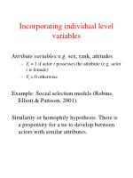 incorporating individual level variables