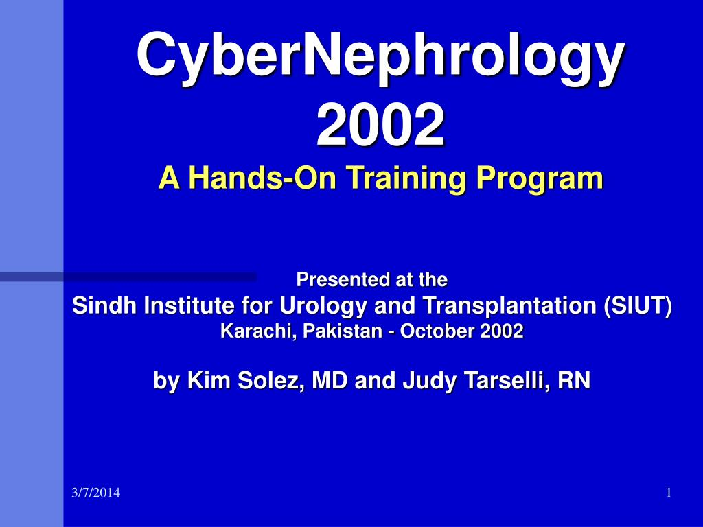 cybernephrology 2002 a hands on training program l.