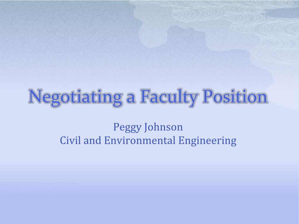 negotiating a faculty position l.