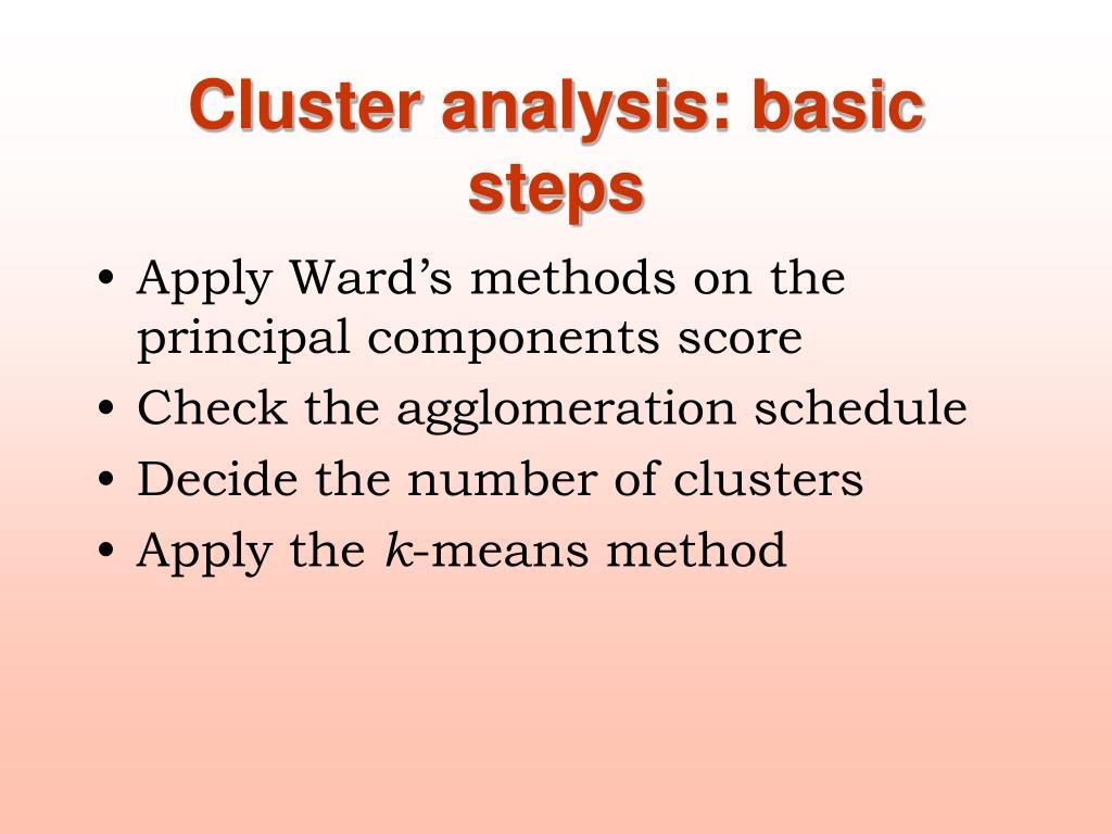 Cluster analysis: basic steps