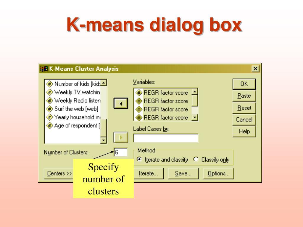 K-means dialog box