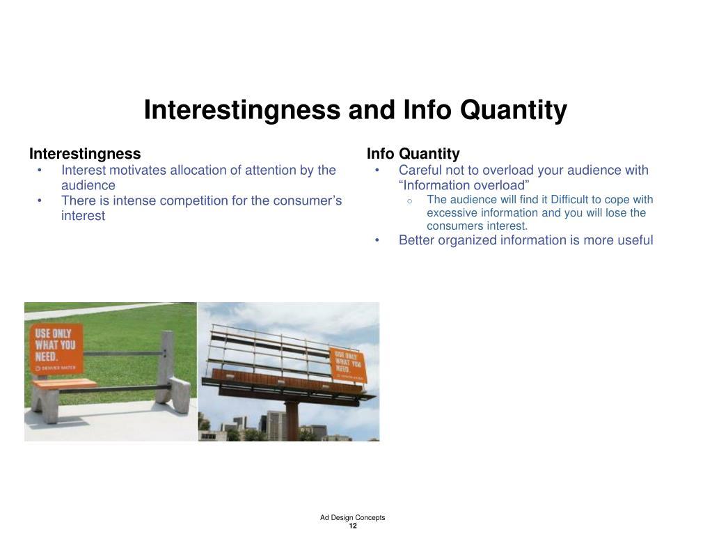 Interestingness and Info Quantity