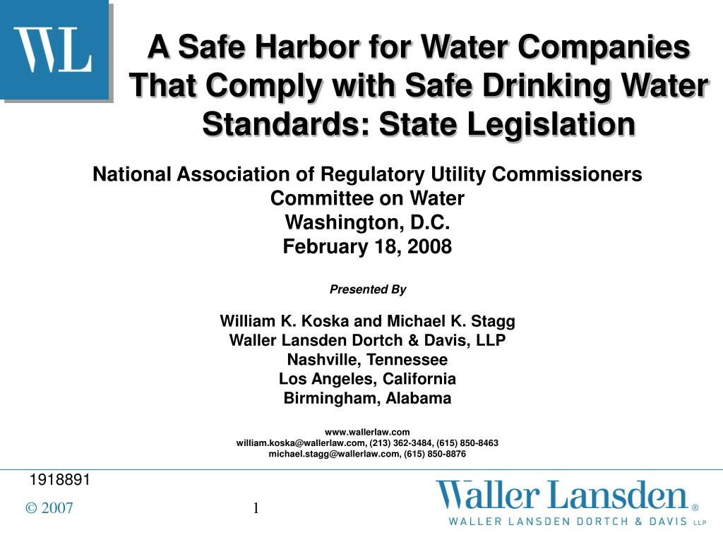 a safe harbor for water companies that comply with safe drinking water standards state legislation l.
