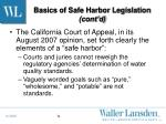 basics of safe harbor legislation cont d