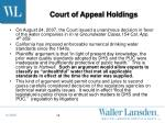 court of appeal holdings