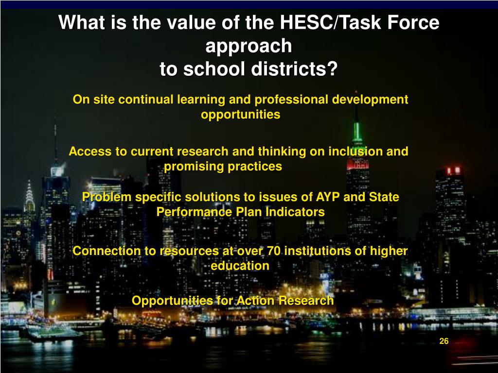 What is the value of the HESC/Task Force approach