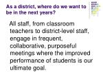 as a district where do we want to be in the next years6