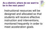 as a district where do we want to be in the next years7