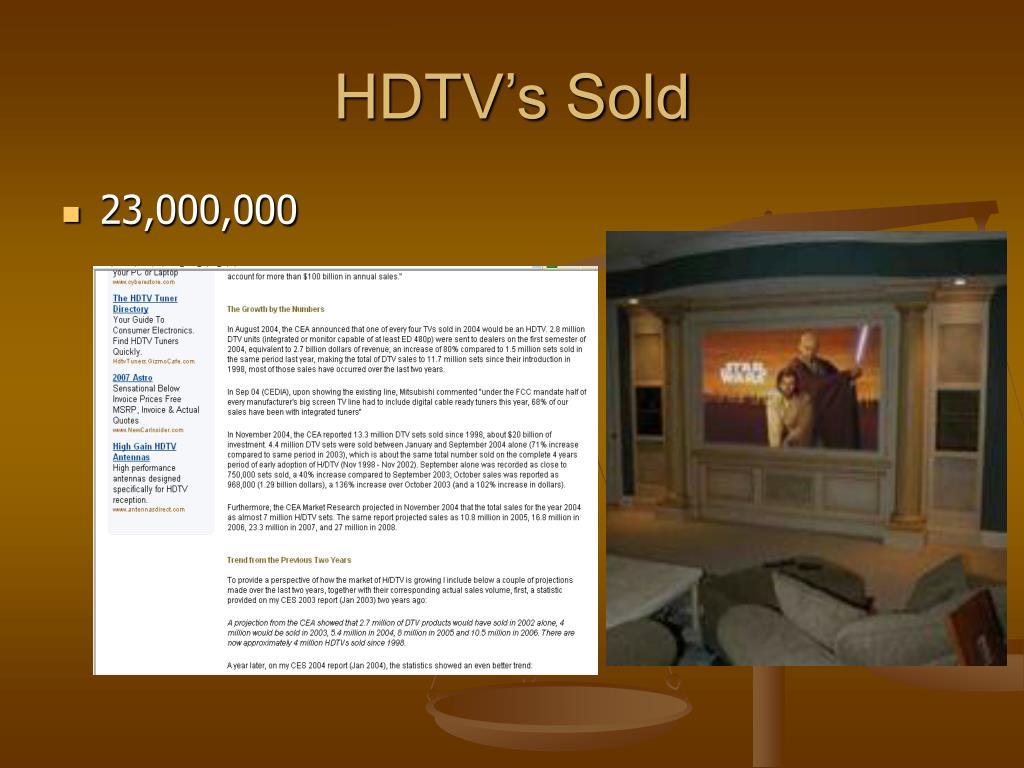 HDTV's Sold