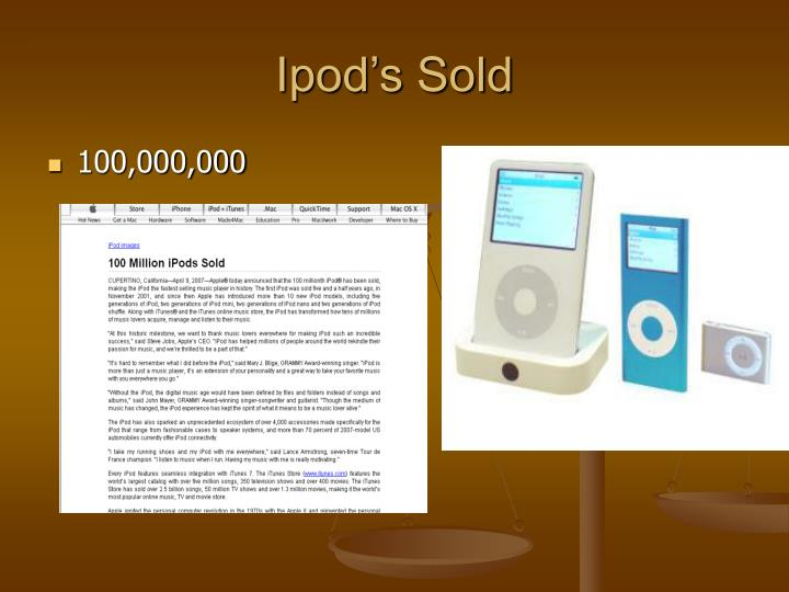 Ipod s sold
