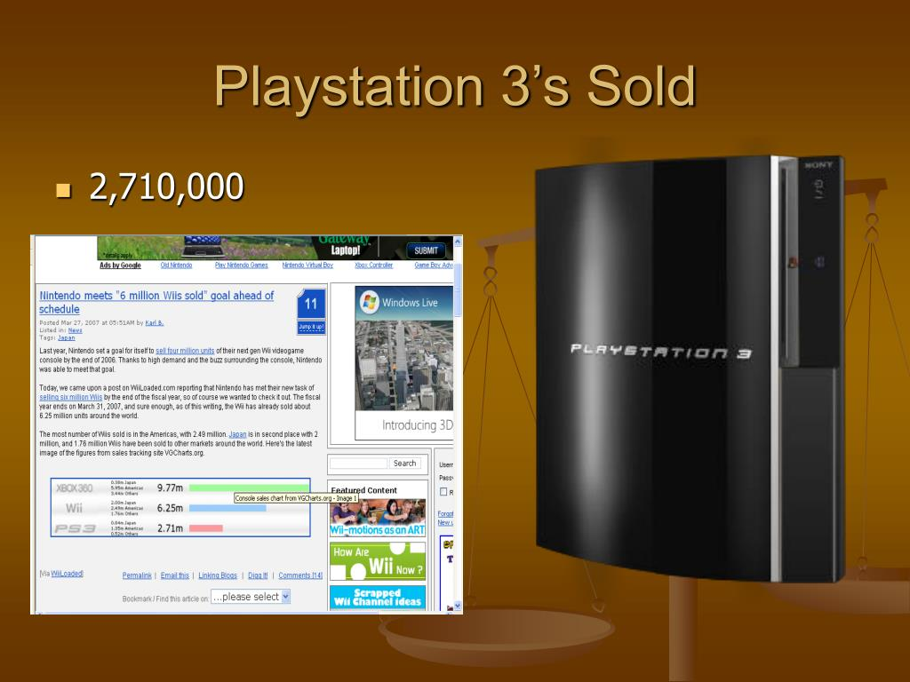 Playstation 3's Sold