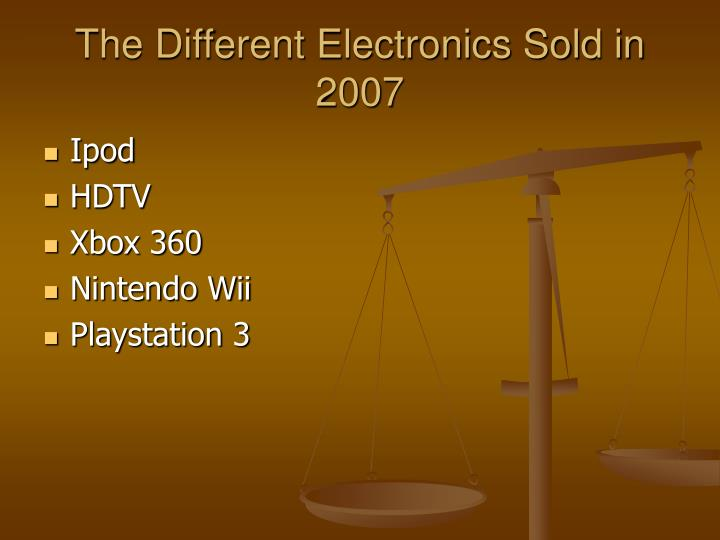 The different electronics sold in 2007