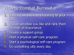 how to combat burnout
