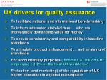 uk drivers for quality assurance