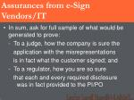 assurances from e sign vendors it46