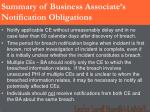 summary of business associate s notification obligations