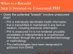 what is a breach step 1 secured vs unsecured phi