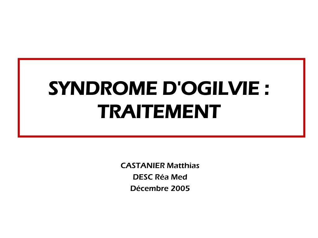 syndrome d ogilvie traitement