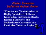 c luster formation definition michael porter