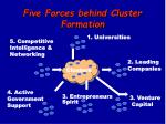 five forces behind cluster formation