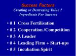 success factors creating or destroying value ingredients for success