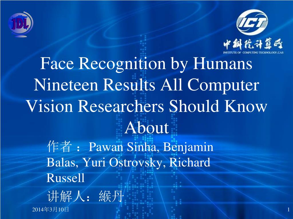 face recognition by humans nineteen results all computer vision researchers should know about l.