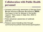 collaboration with public health personnel
