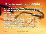 predecessors to osha