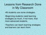 lessons from research done in my classroom