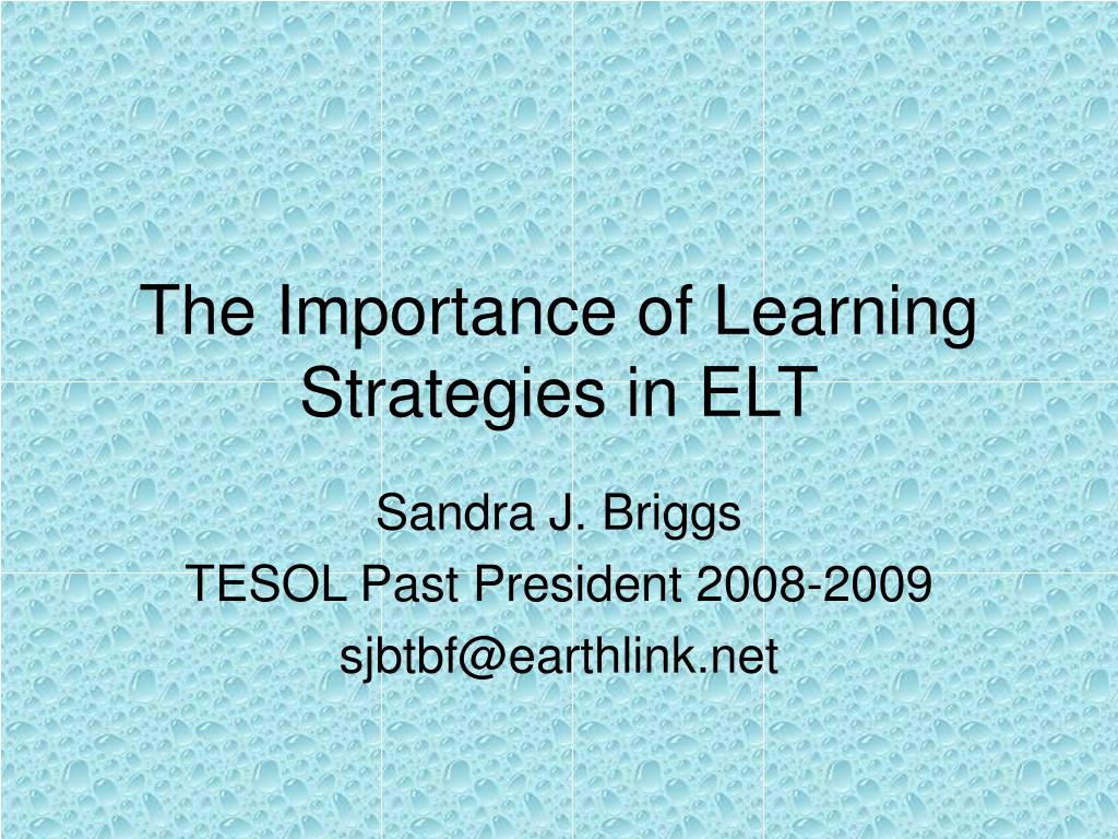 the importance of learning strategies in elt l.