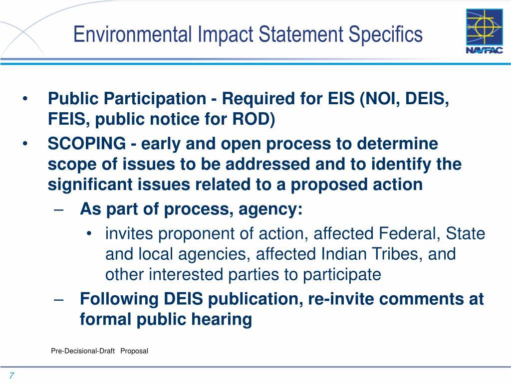 Environmental Impact Statement Specifics
