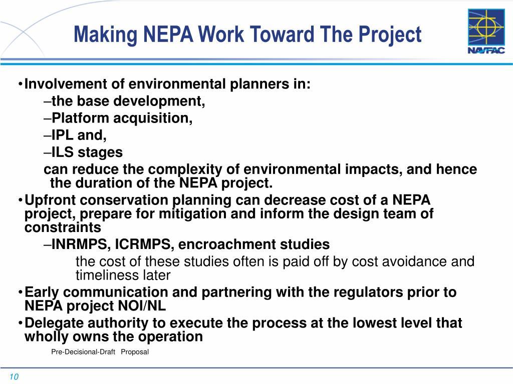 Making NEPA Work Toward The Project