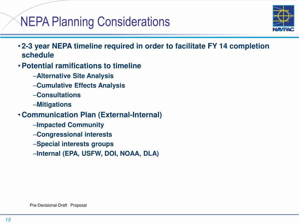 NEPA Planning Considerations