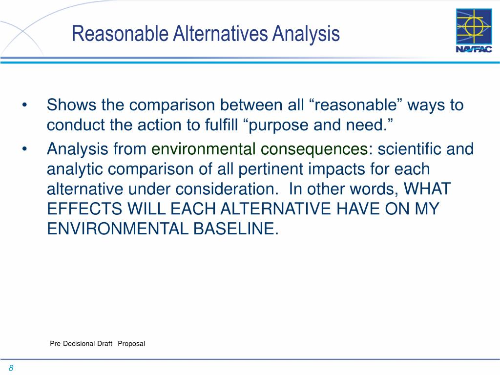 Reasonable Alternatives Analysis