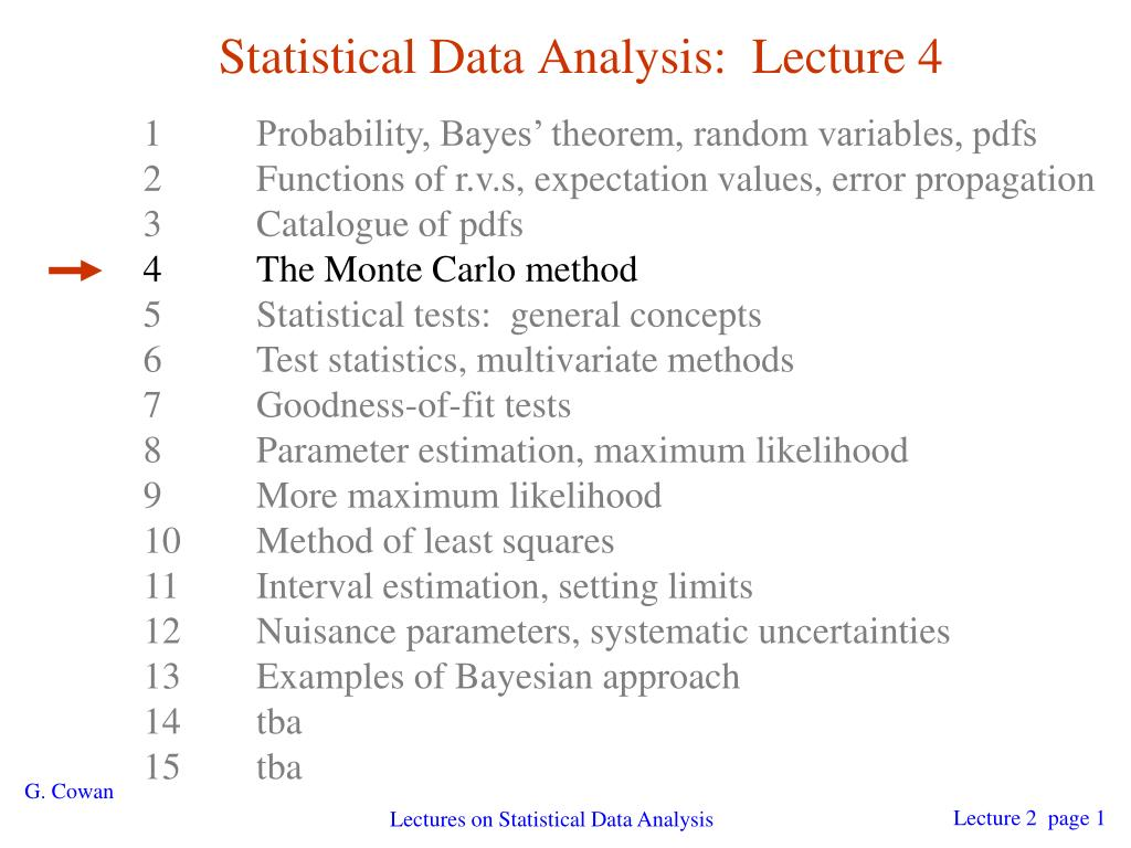 statistical data analysis lecture 4 l.