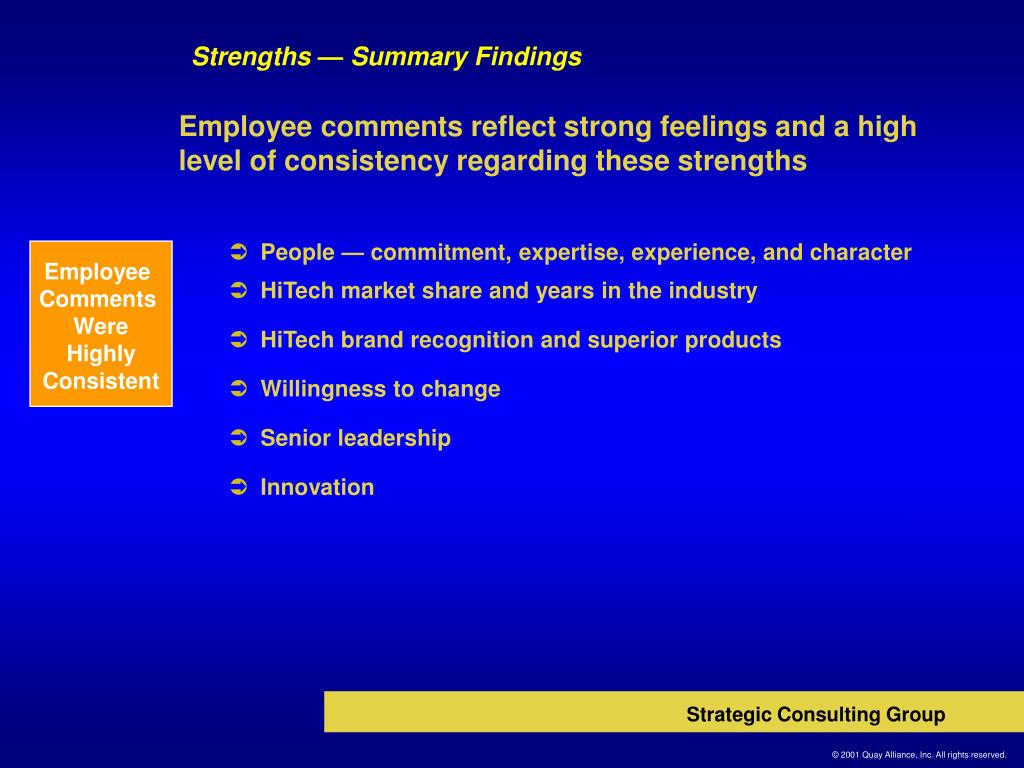 Strengths — Summary Findings