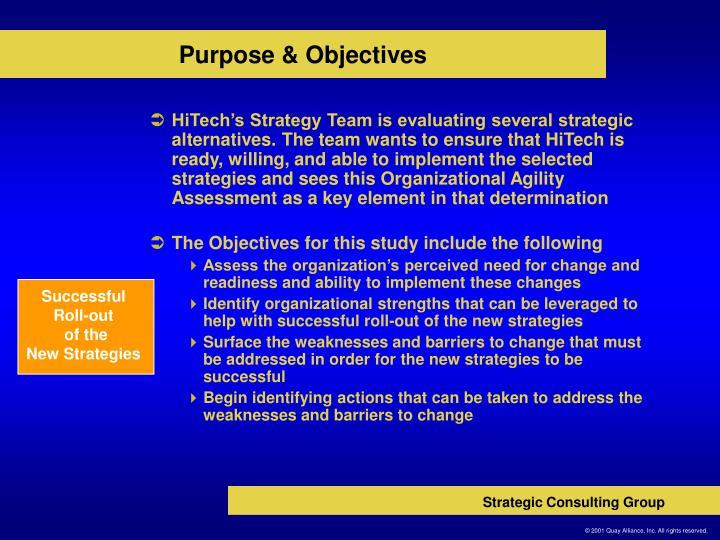 Purpose objectives