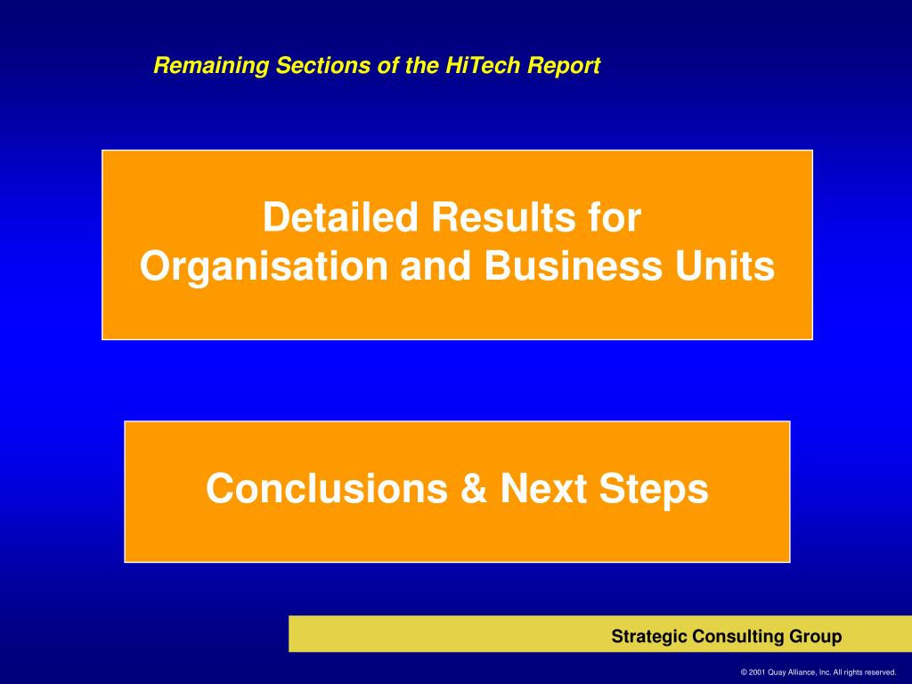Remaining Sections of the HiTech Report