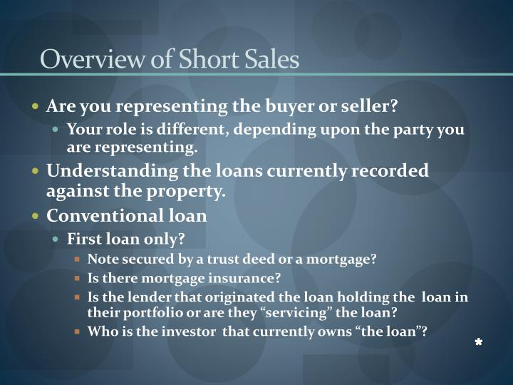 Overview of Short Sales